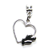Earring Clip - Metal Hearts Charm (Silver)