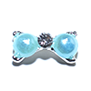 Nail Jewelry Silver - Blue Pearl Bow