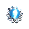 Nail Jewelry Silver - Blue Pearl Circle