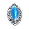 Nail Jewelry Silver - Blue Pearl Oval