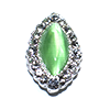 Nail Jewelry Silver - Green Pearl Oval