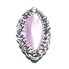Nail Jewelry Silver - Pink Pearl Oval