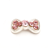 Nail Jewelry Silver - Pink Studded Bow