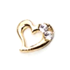 Metal Heart Charm Gold-Crystal (Small)
