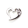 Metal Heart Charm Silver-Crystal (Small)