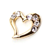 Metal Heart Charm Gold-Crystal (Large)