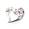 Metal Heart Charm Silver-Crystal (Large)