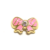 Metal Bow Charm Gold-Pink