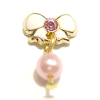 Metal Bow Charm Gold-Pink w/ Pearl dangle