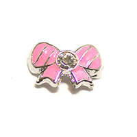 Metal Bow Charm Silver-Pink