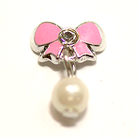 Metal Bow Charm Silver-Pink w/ Pearl dangle